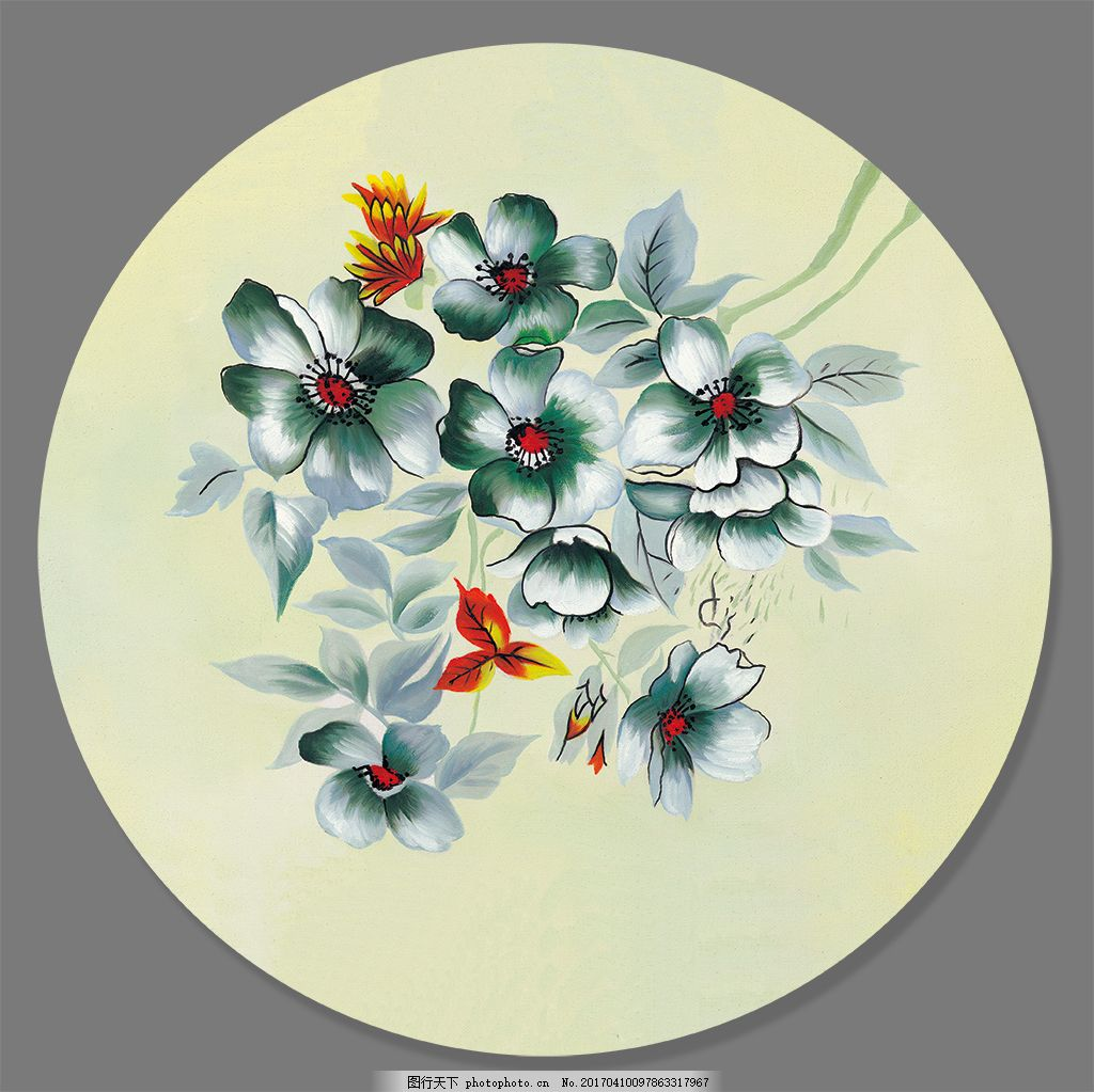 高清兰花油画装饰画背景墙 圆形