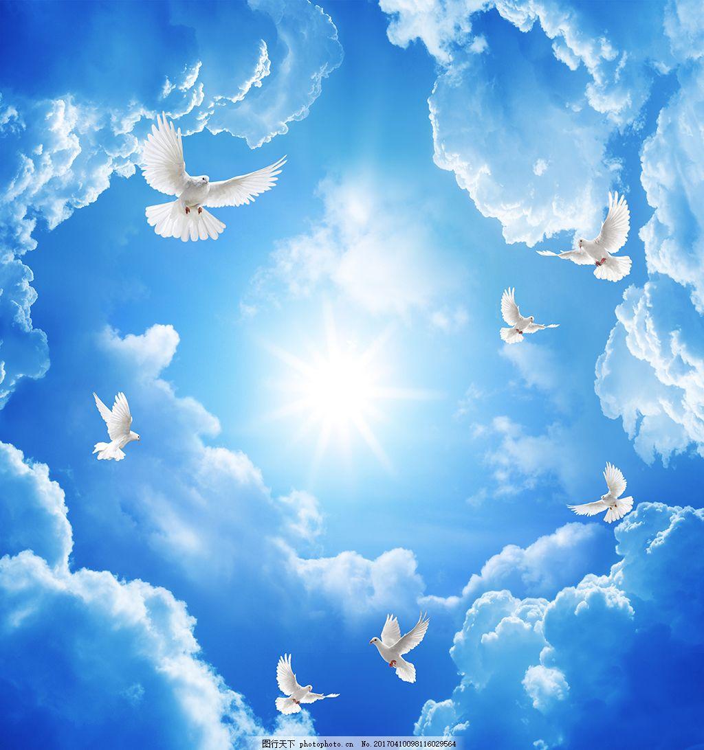 欧式天空蓝条白云吊顶壁画装饰画