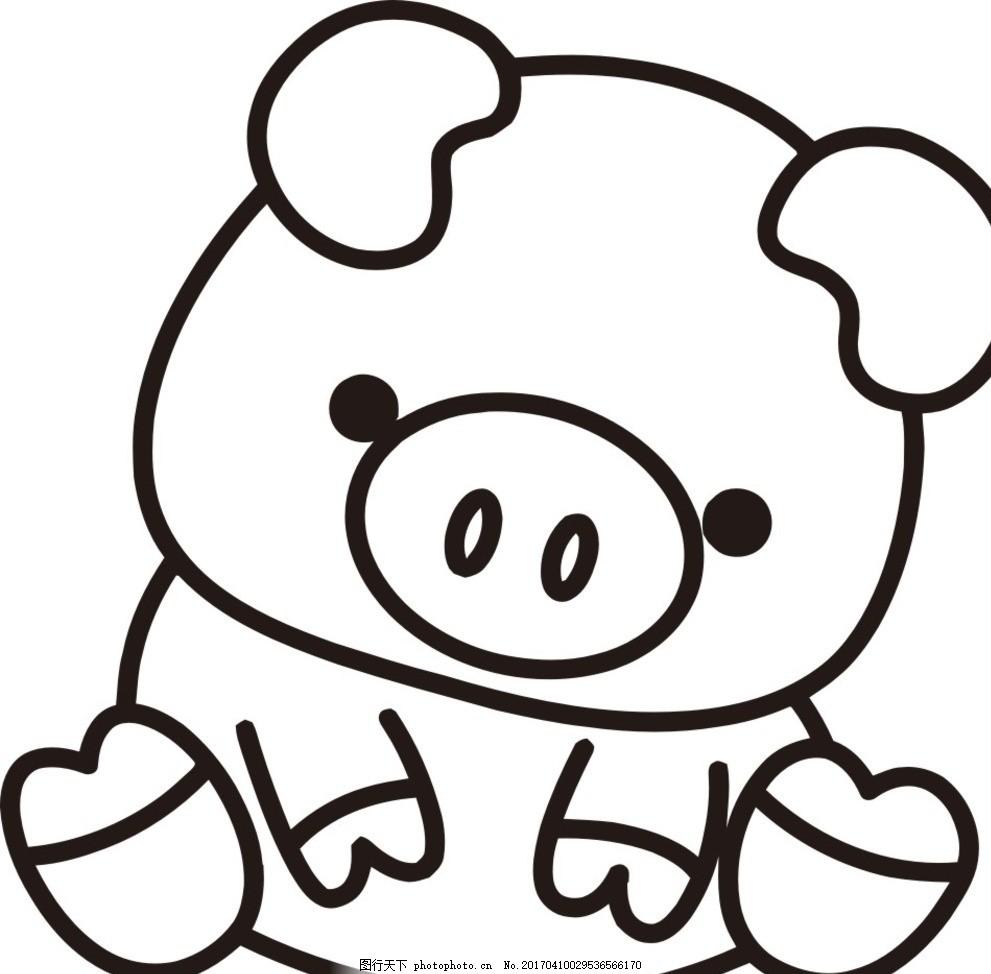 矢量简笔画 小猪 矢量 简笔画 小猪 cdrx4 xdr 动物 卡通 设计 广告