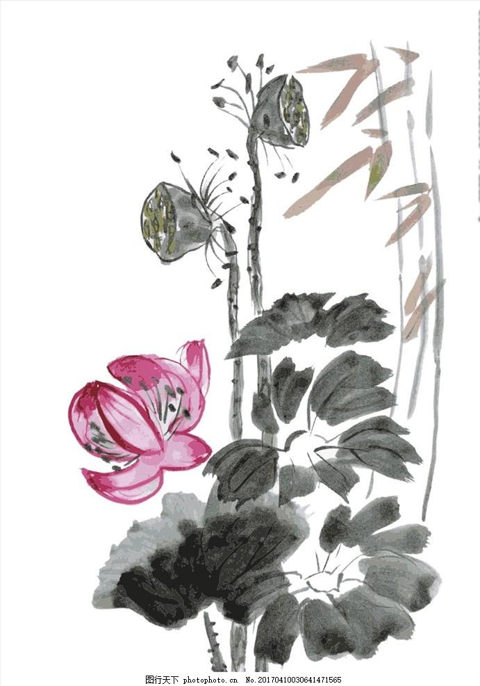 印花图案 绣花图案 荷花荷叶莲蓬 印花 绣花 传统文化 传统图案 中国