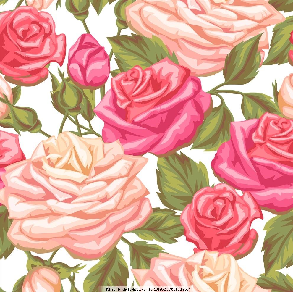 手绘玫瑰花 玫瑰花 淡彩 花背景 矢量 花背景 设计 广告设计 其他 ep