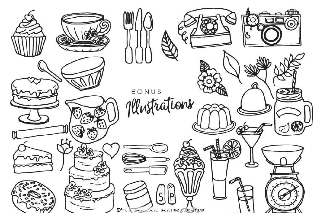 素描 速写 写生 简笔画 轮廓画 线条 食物 图案 美食      蛋糕 甜点