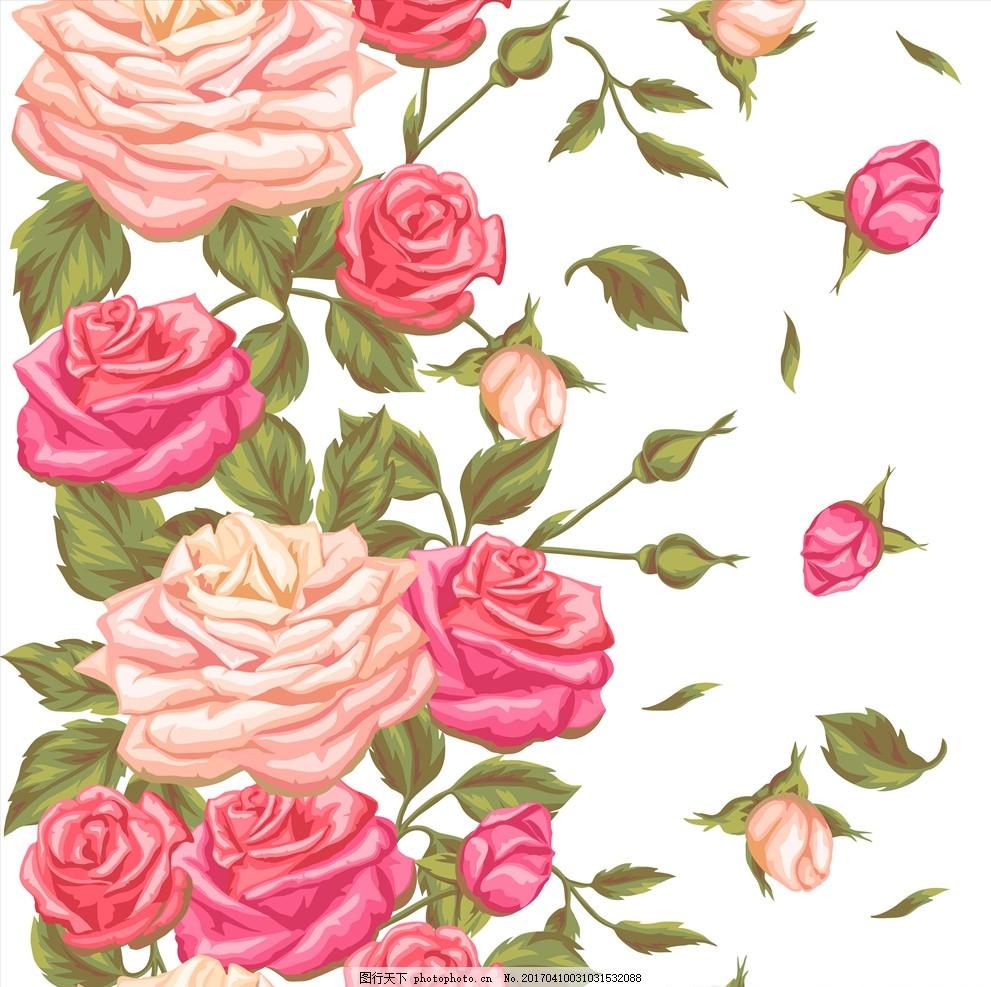 手绘玫瑰花 玫瑰花 淡彩 花背景 矢量 花背景 设计 广告设计 其他 eps