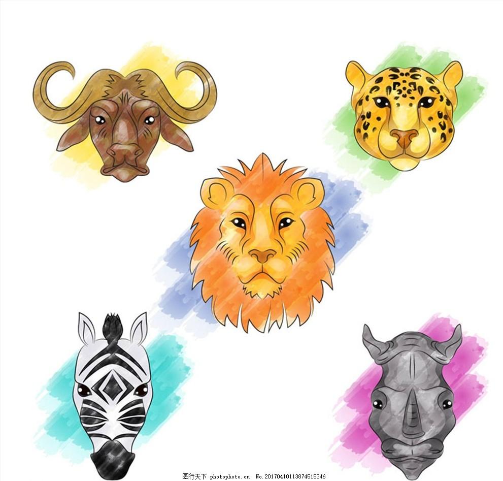 5款彩绘动物头像矢量素材