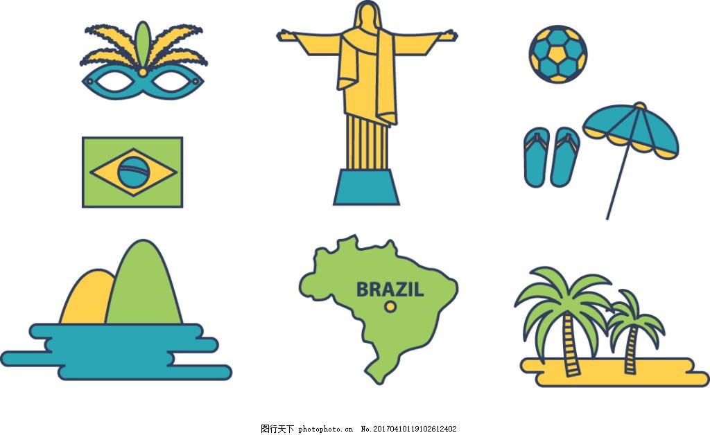 西班牙元素手绘插画 手绘椰树 手绘面具 度假 国旗 地图 山 树木