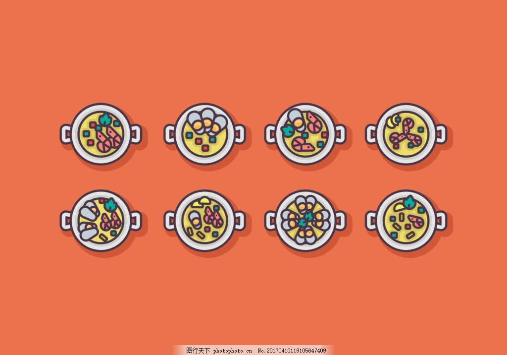 扁平化可爱手绘韩式美食 食物 美食 手绘食物 矢量素材 美食插画 扁平
