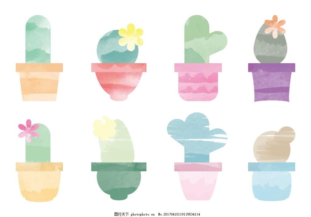 唯美 夏季 水彩花卉 手绘花卉 手绘植物 水彩 盆栽 仙人掌 水彩仙人掌