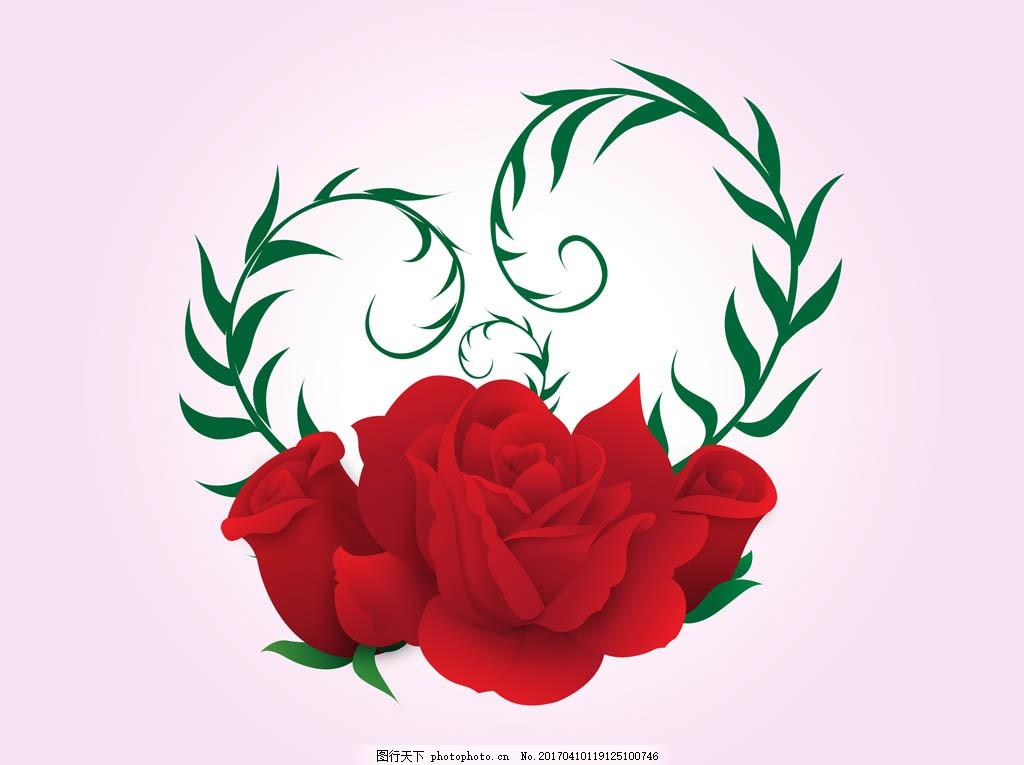 矢量爱心玫瑰花 手绘花卉 手绘植物 花卉花朵 玫瑰 玫瑰花 花束 花朵