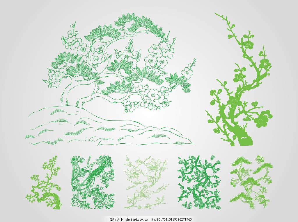 矢量手绘树木素材 矢量树木 藤蔓 矢量素材 手绘植物