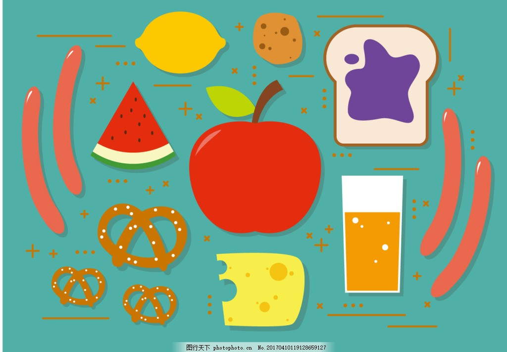 扁平化早餐图标 矢量食物 食物 手绘食物 手绘美食 美食 矢量素材