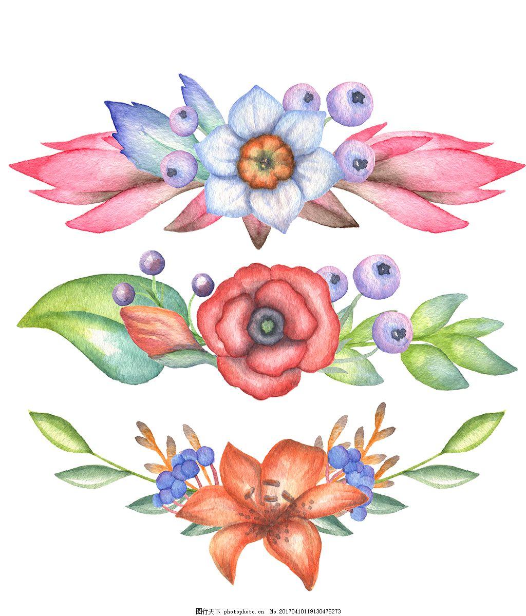 唯美手绘彩铅花环花束