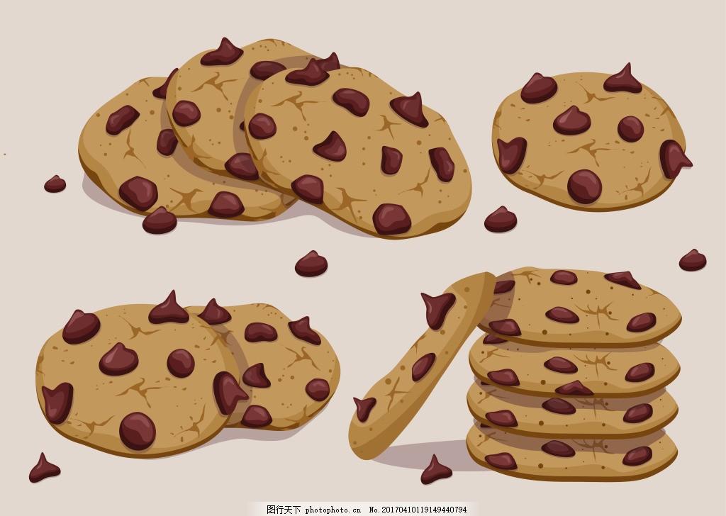 甜品 手绘甜点 矢量素材 甜点 甜点图标 甜食 巧克力饼干 饼干 曲奇