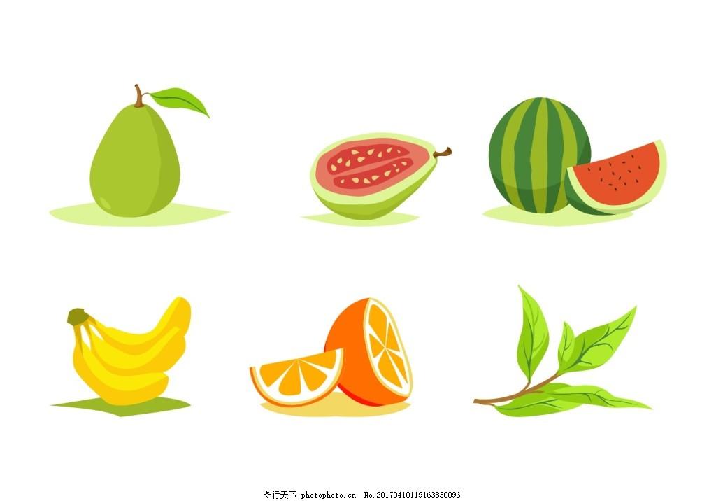扁平化水果 食物 美食 手绘食物 手绘植物 香蕉 橙子 树叶 梨 西瓜