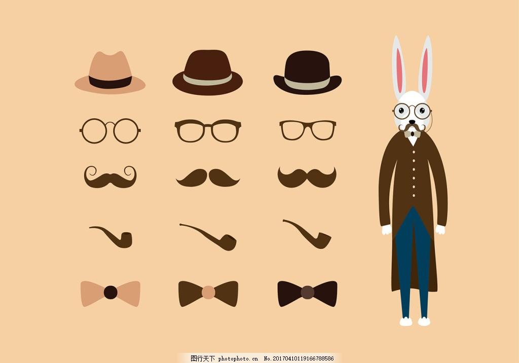 手绘可爱复活节兔子