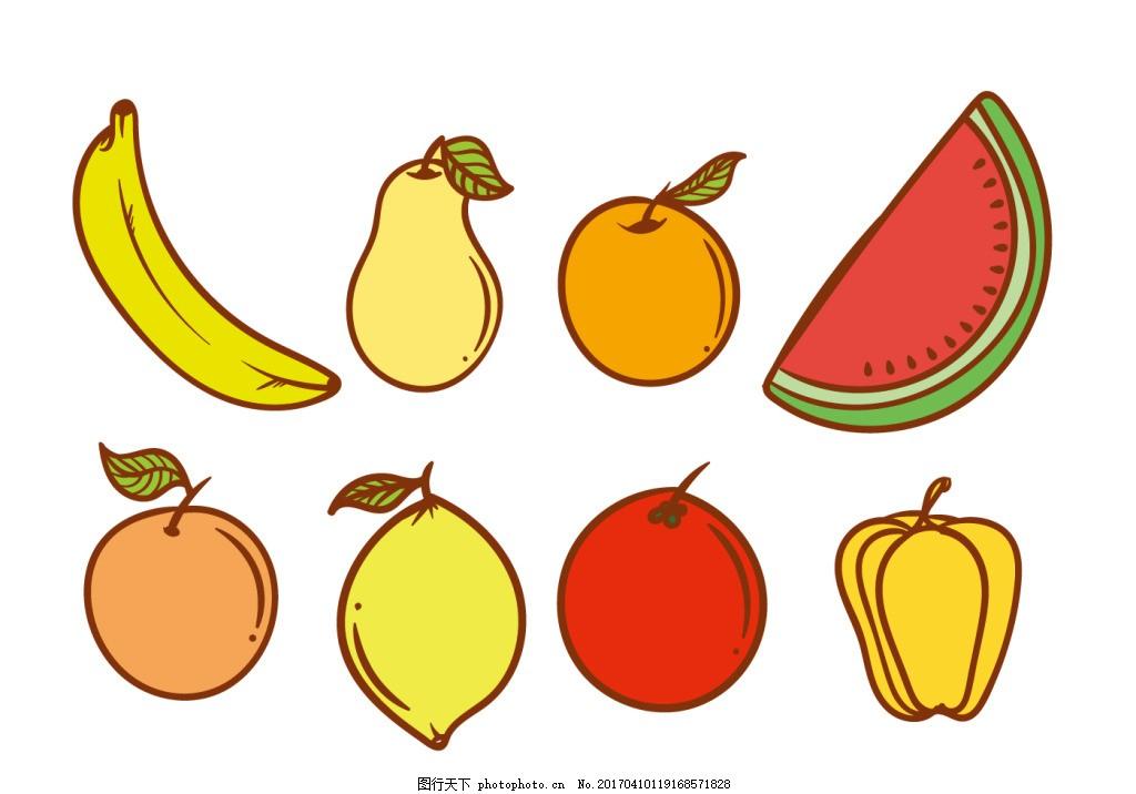 手绘扁平水果