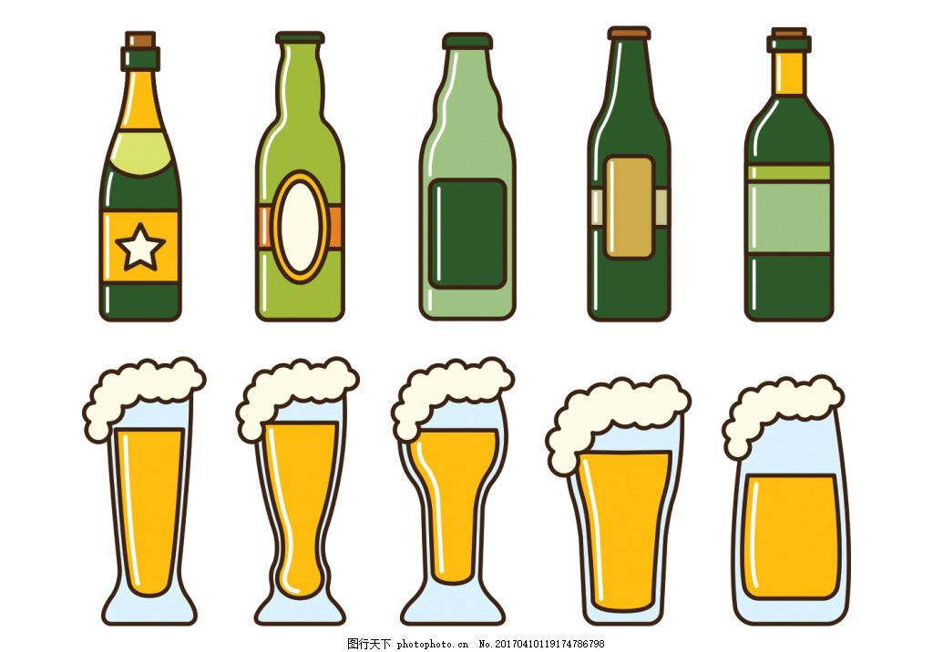 手绘啤酒饮料素材