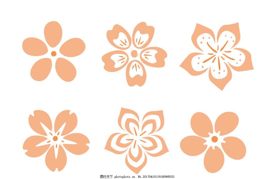 花卉花朵 手绘花卉 矢量素材 手绘植物 樱花 桃花 花朵图案 手绘樱花