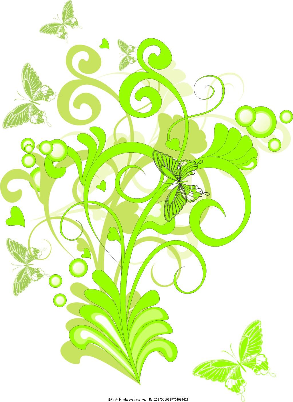 绿色花藤装饰图案设计