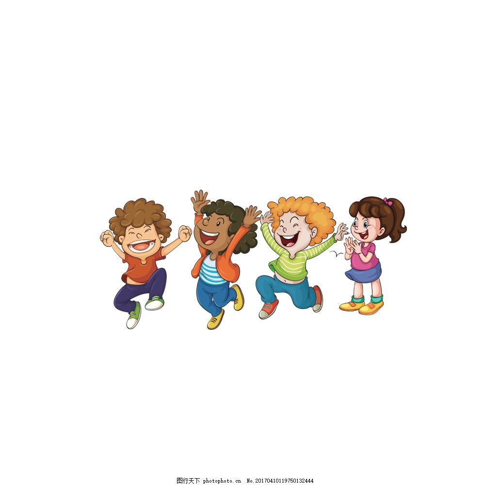 四个可爱孩子 四个 可爱 孩子 男孩 女孩 跑 跳