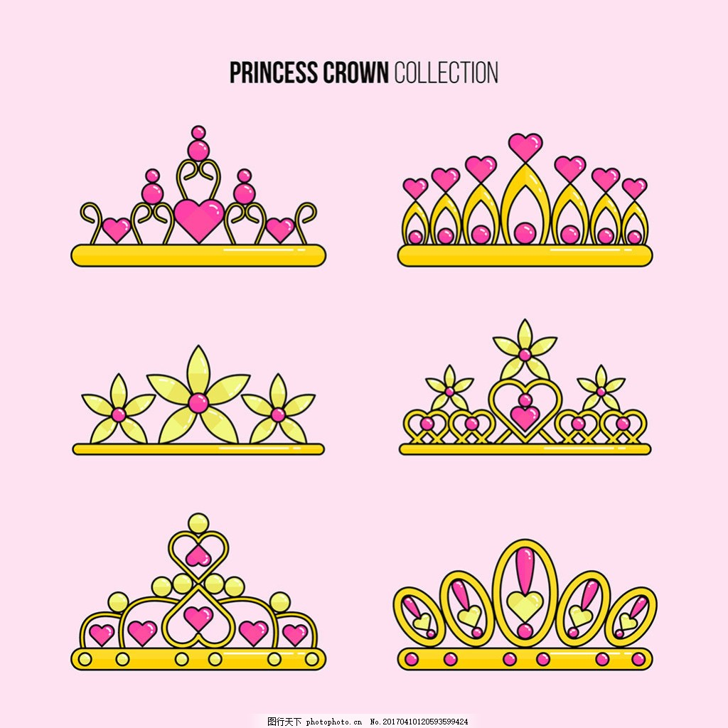 手绘镶嵌心形宝石的皇冠