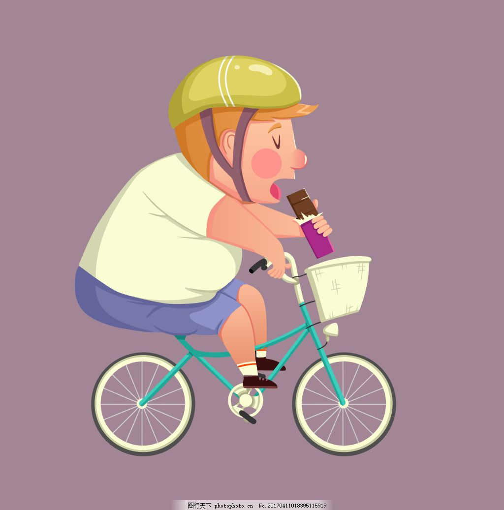 骑自行车的人 卡通 人物 胖人