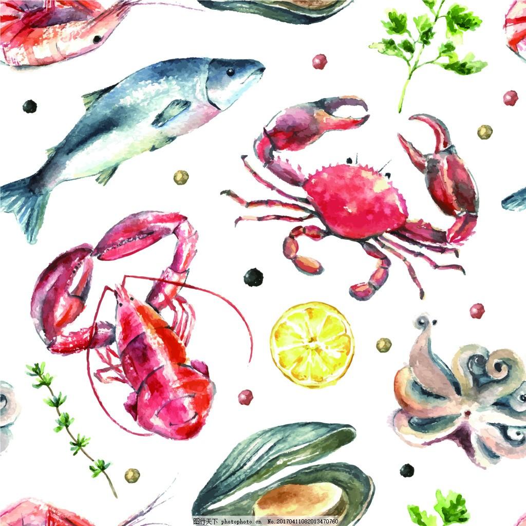 海鲜龙虾鱼素描手绘水果食物矢量图