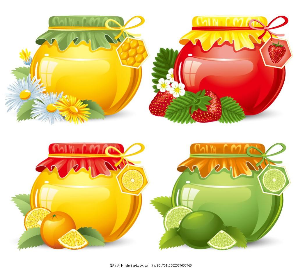 手绘罐子装的蜂蜜矢量素材