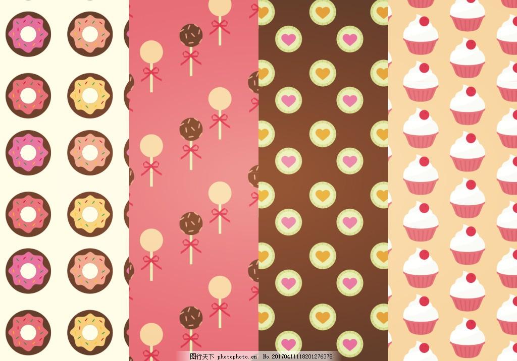 可爱手绘甜点背景,手绘糖果 手绘食物 手绘美食 甜品