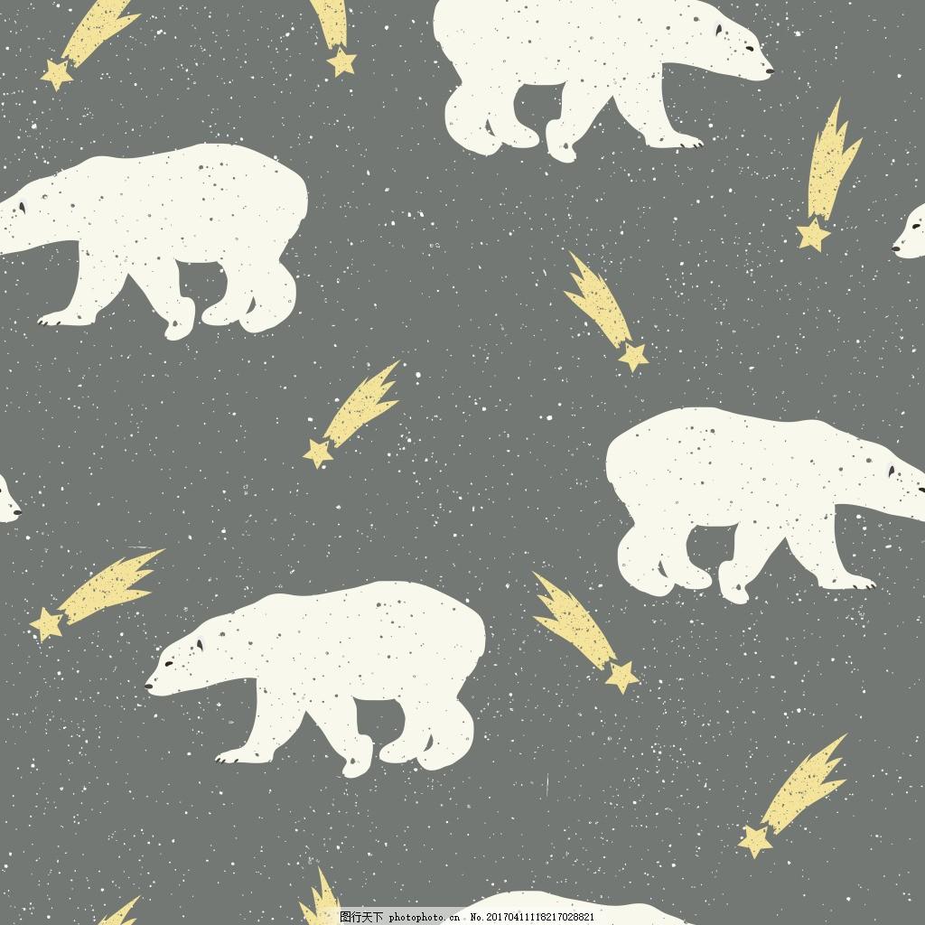 手绘北极熊动物背景