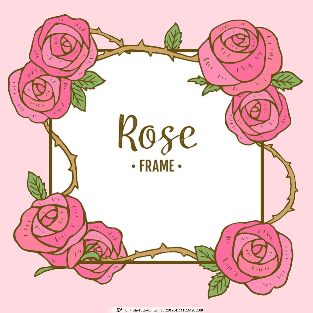 手绘风格玫瑰装饰图案边框背景矢量素材