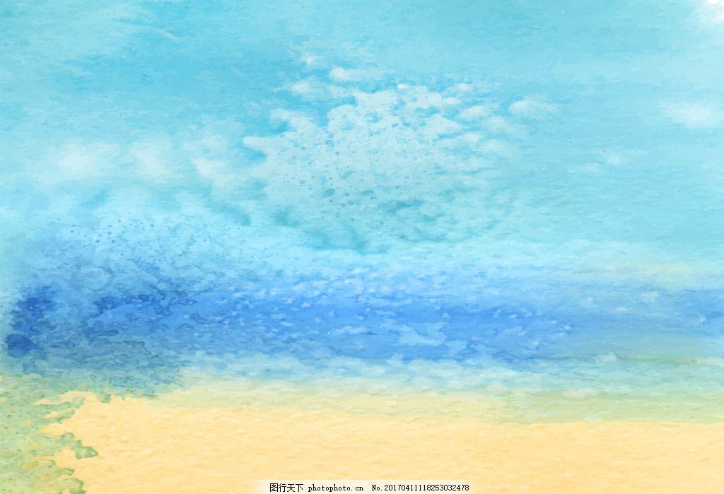 夏季沙滩手绘简易背景