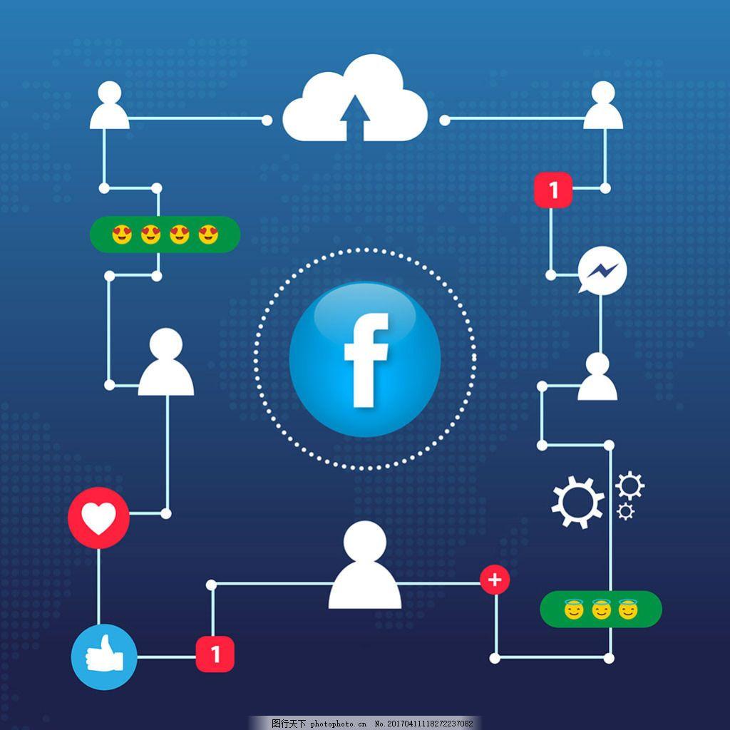 facebook电路背景与图标