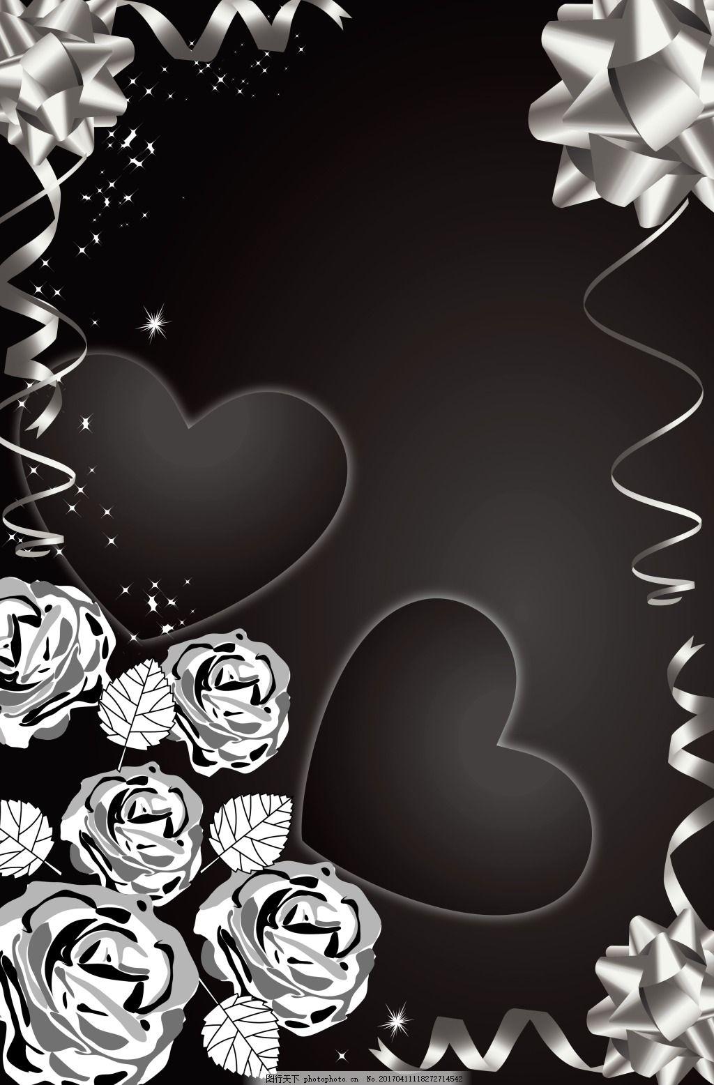 手绘花朵黑底背景