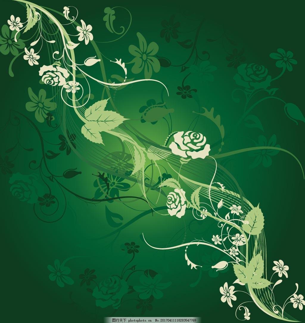 绿色清新手绘玫瑰背景