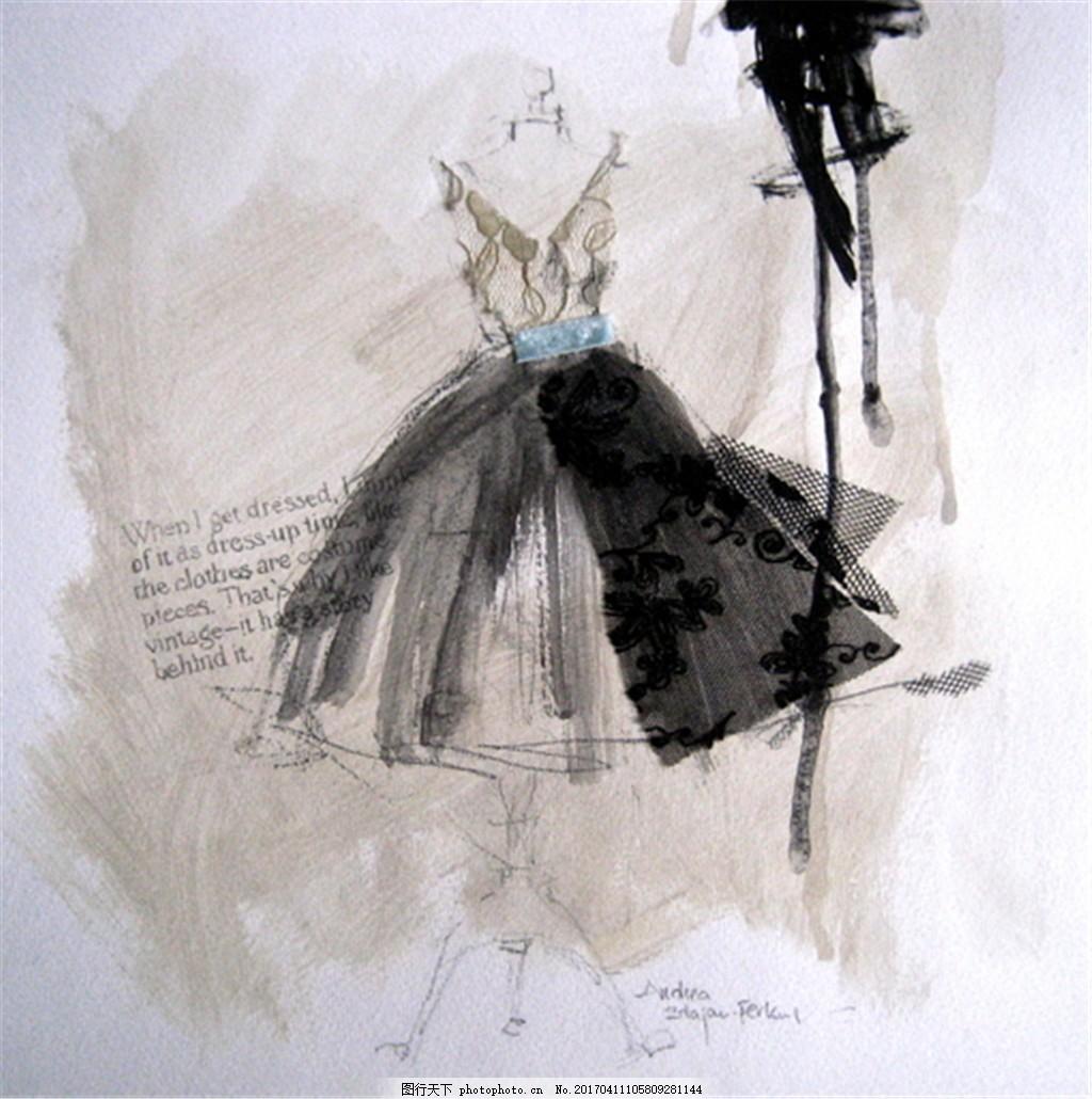 黑色吊带蓬蓬裙设计图