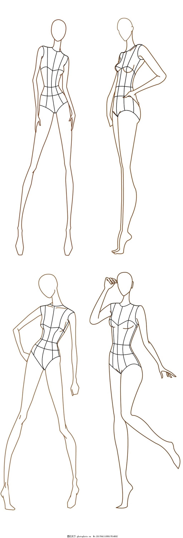 设计图库 现代科技 服装设计  线条女装设计图 服装设计 时尚女装
