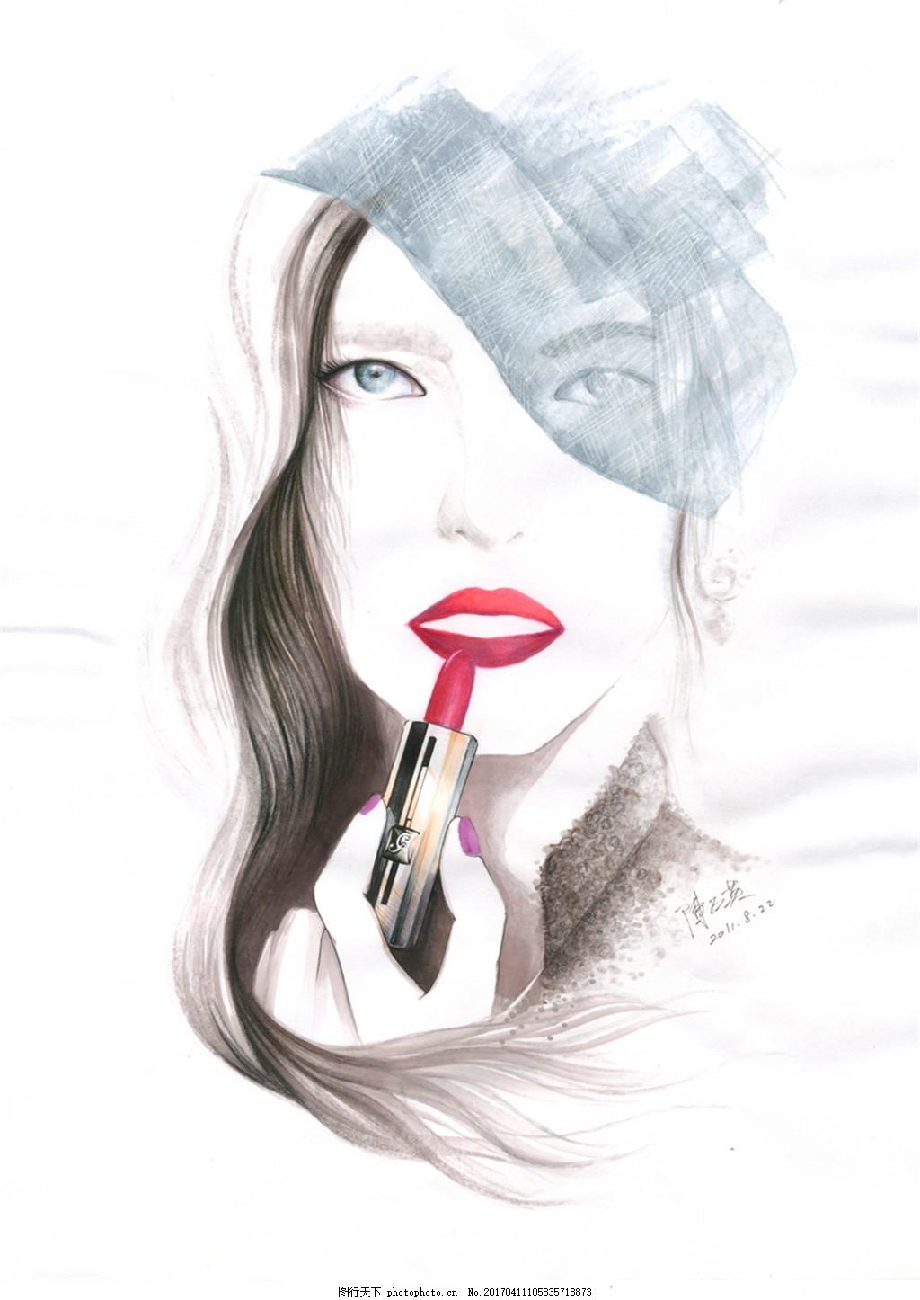 女人红唇化妆手绘图