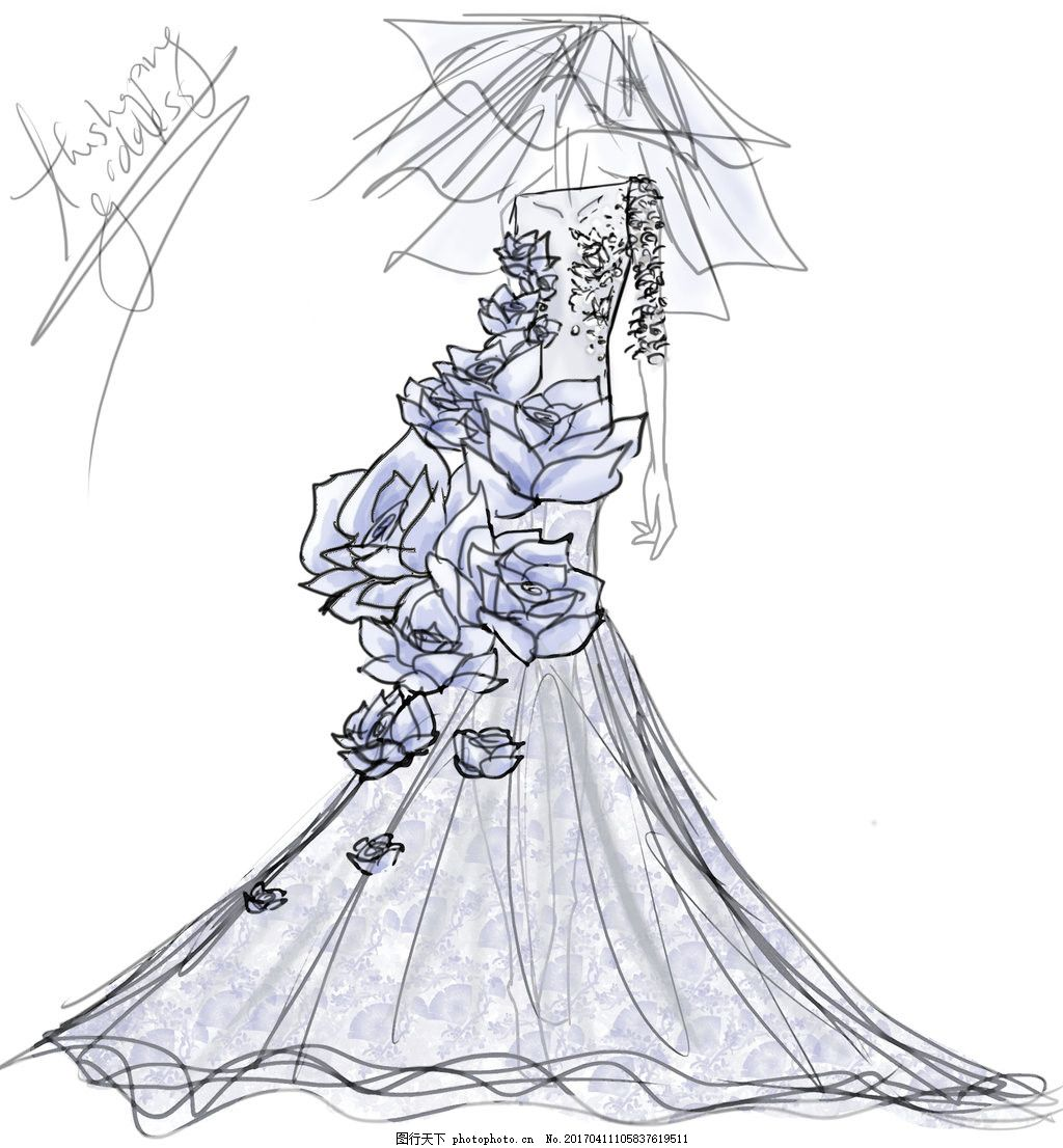 花朵长裙礼服设计图 服装设计 时尚女装 职业女装 职业装 女装设计