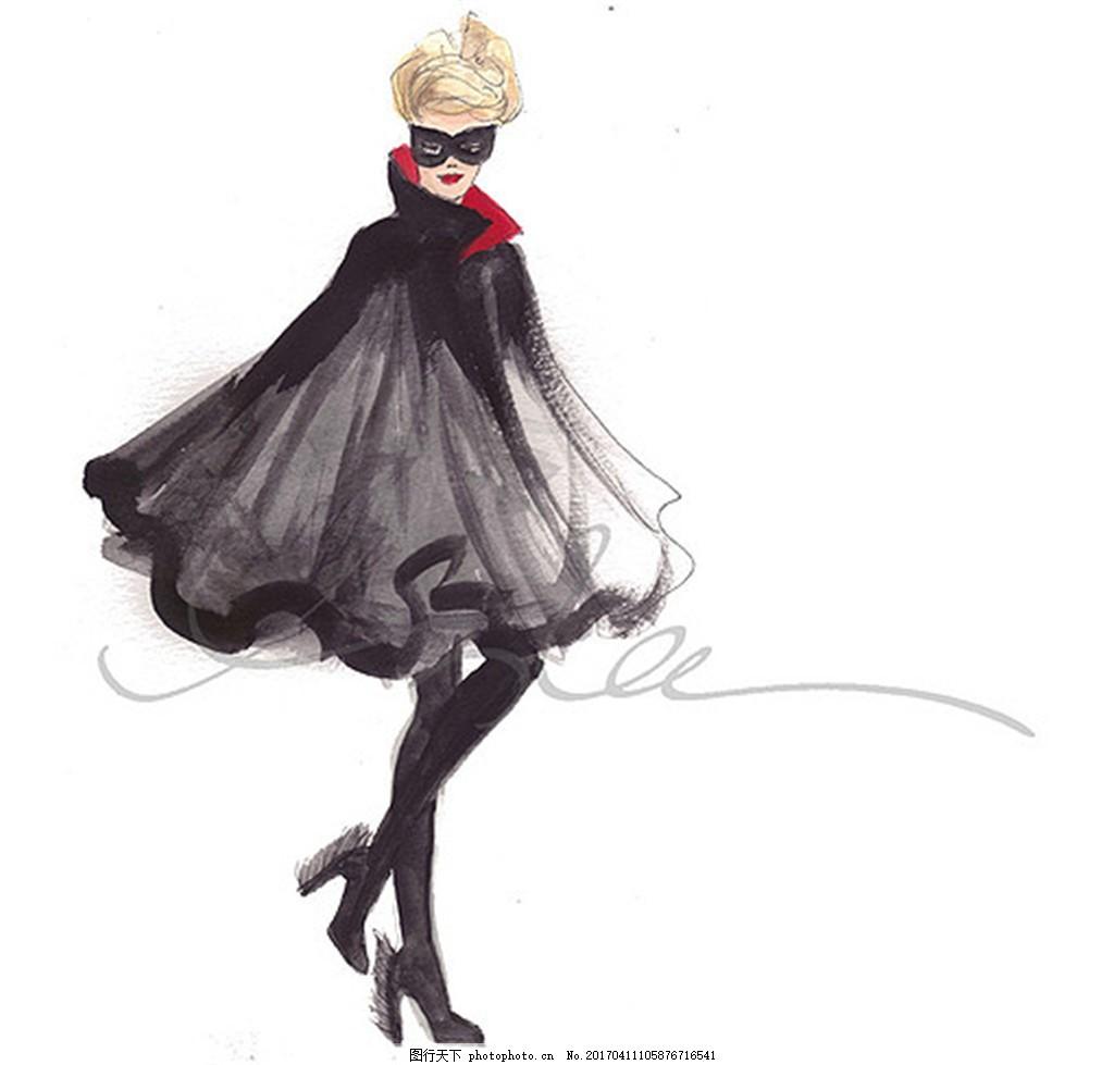黑色蓬蓬裙设计图