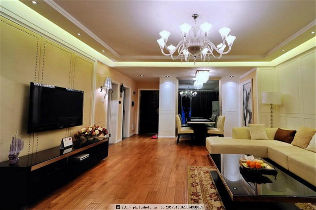 家庭客厅装修效果图 jpg 窗户 窗帘 地毯 电视背景墙 电视机 吊灯
