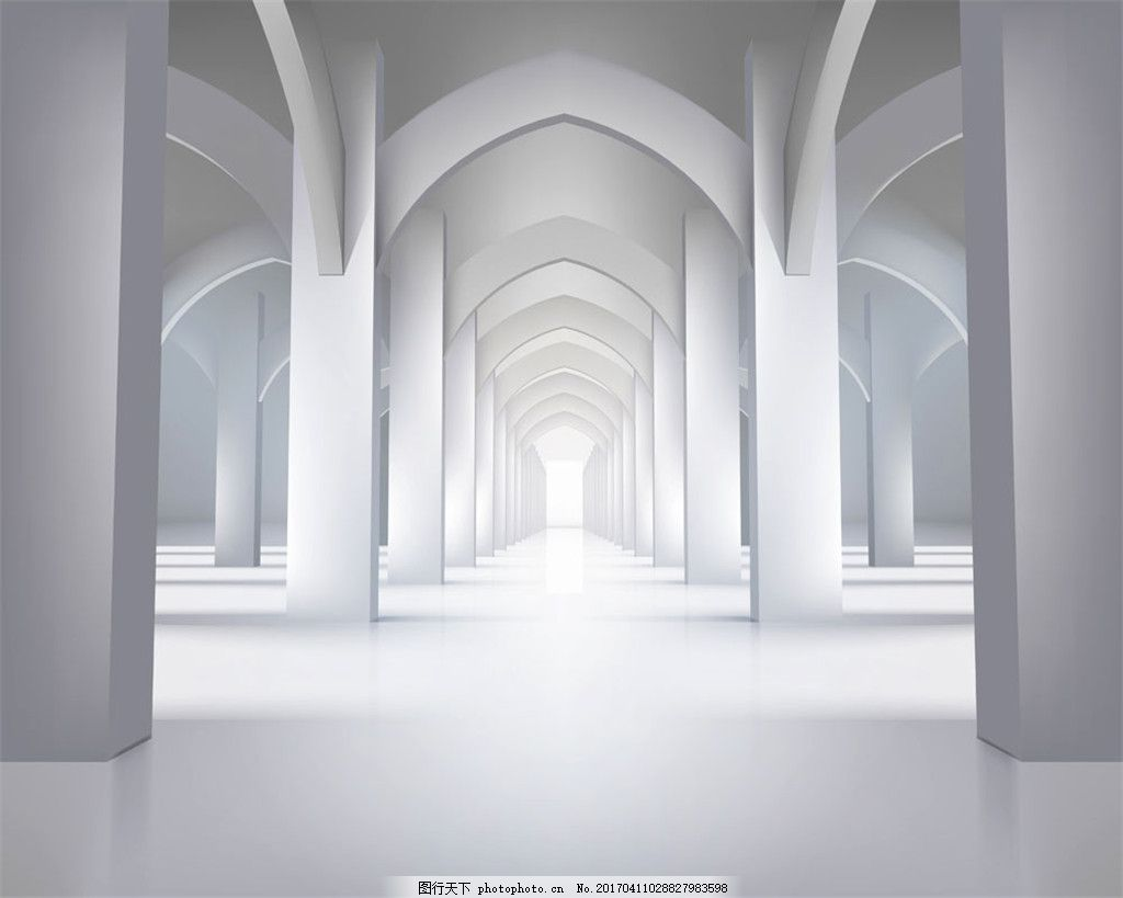 白色拱形建筑室内设计 宽敝空间 白色建筑 空白明亮 走廊设计 空地板