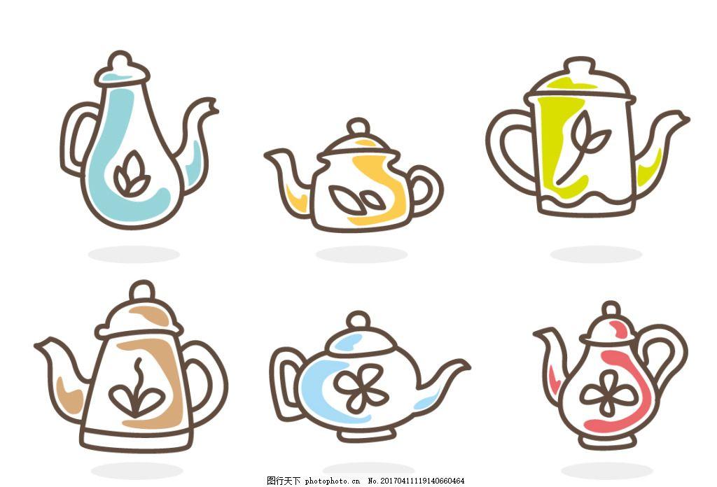 手绘可爱茶壶