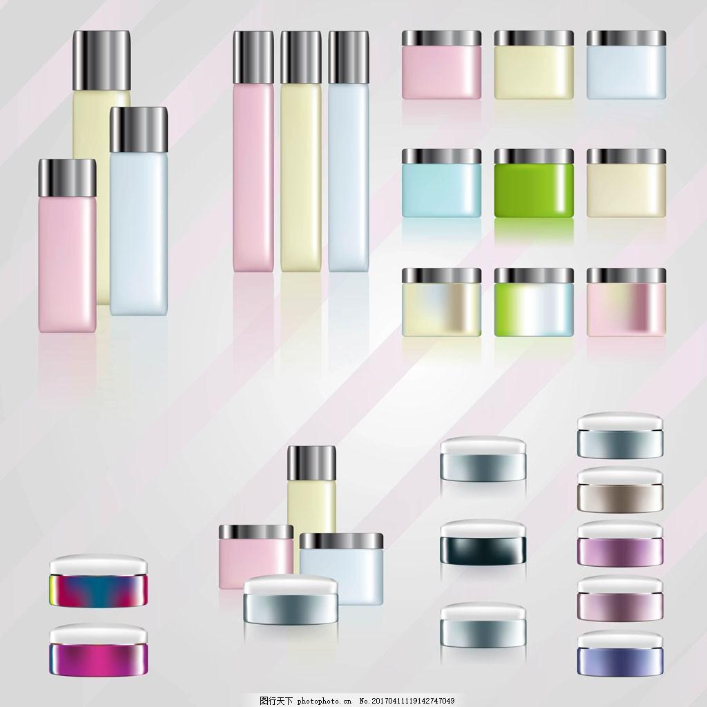 矢量面霜化妆品包装 护肤品 手绘化妆品 手绘护肤品 矢量素材 保养品