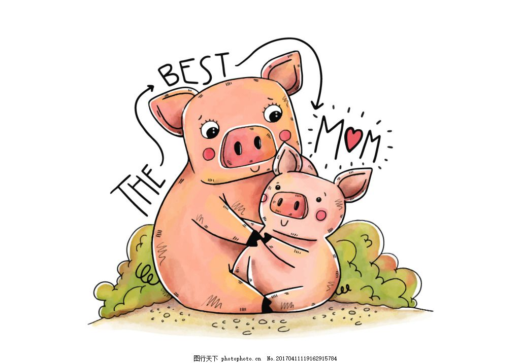 可爱手绘母亲节动物插画