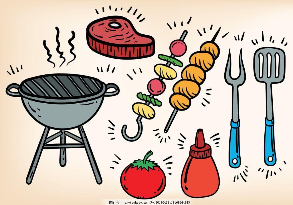 手绘涂鸦烧烤bbq食物