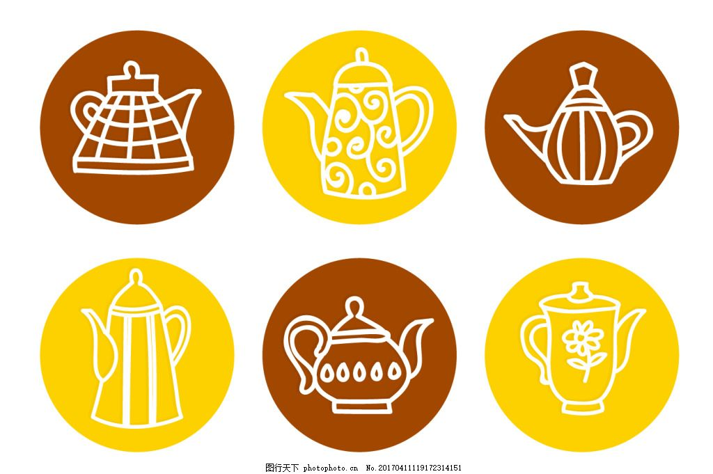 手绘线性茶壶图标
