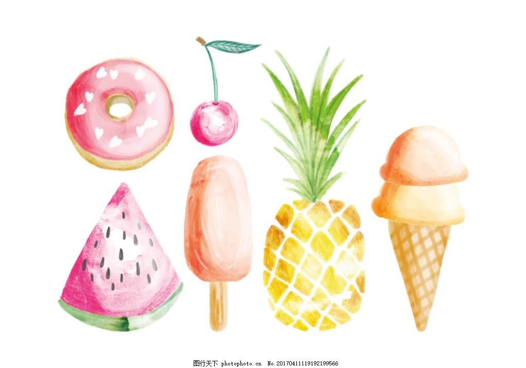 唯美彩铅甜品水果美食