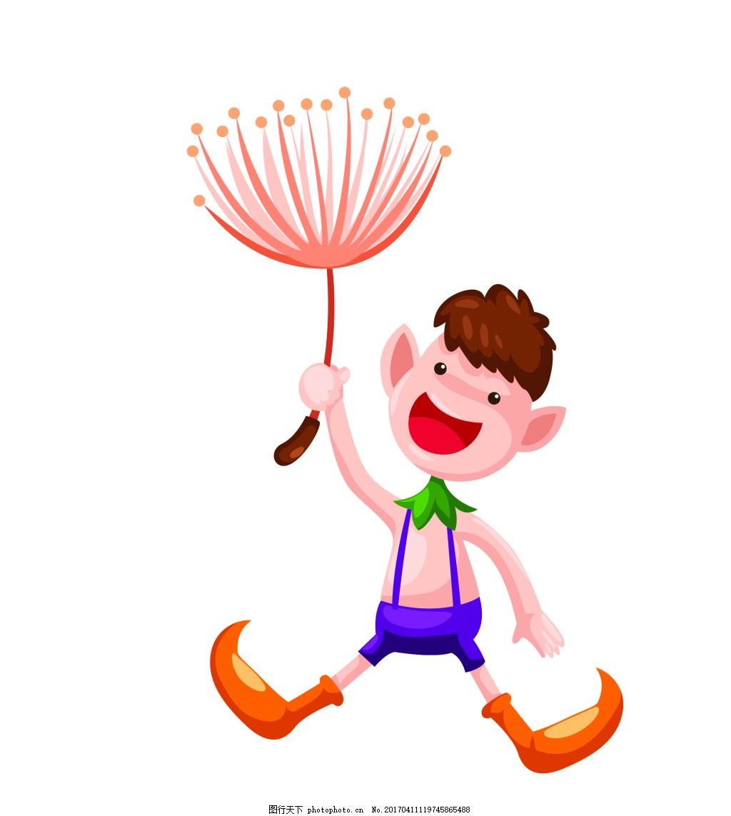 矢量卡通飞行男孩eps 花纹花边 可爱动物 墙贴 墙画 儿童矢量素材