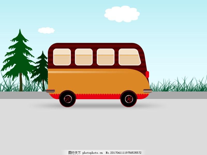 手绘卡通巴士汽车