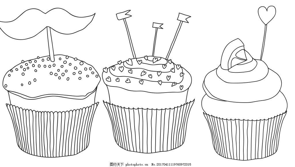 手绘蛋糕素材 线性蛋糕 手绘甜品 矢量素材 甜点